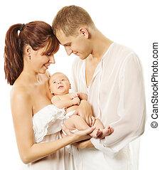 szülők, birtok, újszülött, baby., young család, fogalom, felett, white háttér