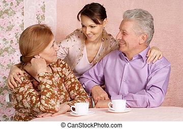 szülők, lány, kaukázusi, öregedő, boldog