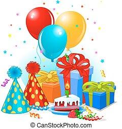 születésnap ajándék, és, dekoráció