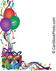 születésnap ajándék, noha, gyeplő, és, konfetti