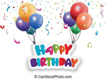 születésnap, boldog, kártya, balloon