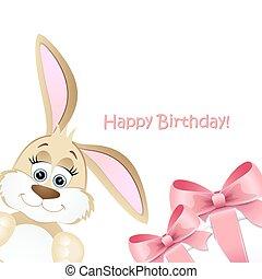 születésnap, boldog, kártya, nyuszi
