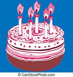 születésnap, cake., vektor, ábra, képben látható, egy, kék, háttér.