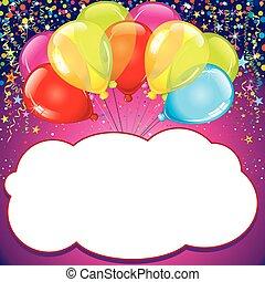 születésnap, card., vektor