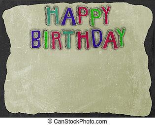 születésnap, chalkboard, határ
