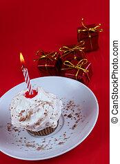 születésnap, cupcake