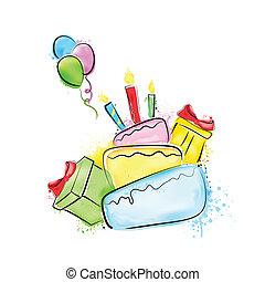 születésnap, festmény, boldog