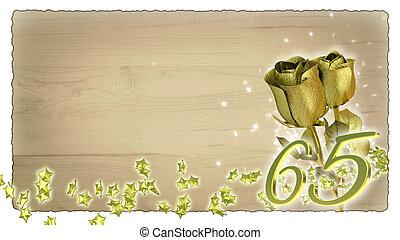 születésnap, fogalom, noha, arany-, agancsrózsák, és, csillag, particles, -, 65th