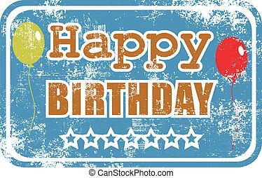születésnap, gumi bélyegző