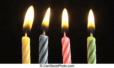 születésnap gyertya, fújás, ki, lassú mozgás