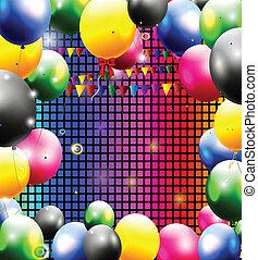 születésnap, háttér, noha, balloon