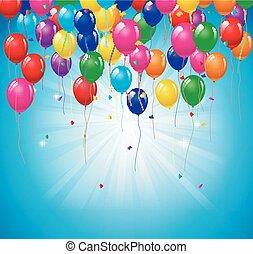 születésnap, háttér, noha, léggömb