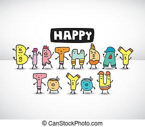 születésnap, irodalomtudomány, karikatúra, kártya