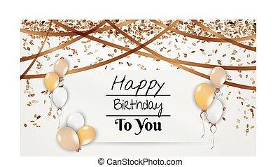 születésnap kártya, noha, léggömb