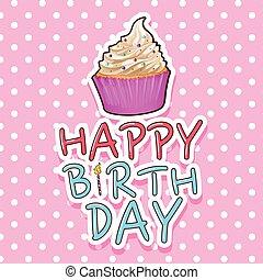 születésnap kártya, sablon, cupcake