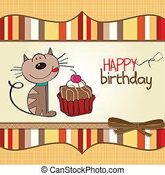 születésnap, köszönés kártya, noha, egy, macska