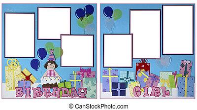 születésnap lány, scrapbook, oldal, alaprajz