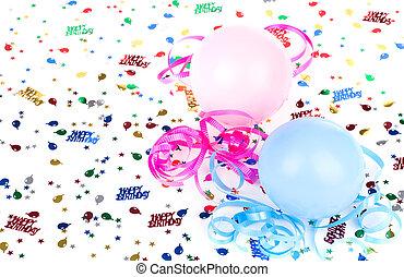 születésnap, léggömb, és, konfetti