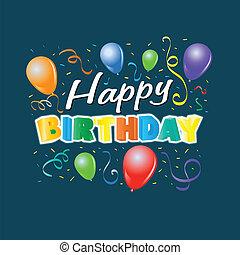születésnap, léggömb, boldog