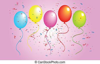 születésnap, léggömb, szín