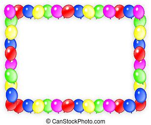 születésnap, meghívás, léggömb, keret