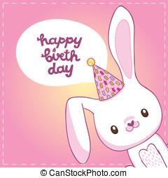 születésnap, nyuszi, kártya, boldog