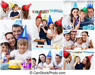 születésnap, otthon, család, együtt, kollázs, misét ...