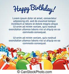születésnap, színes, kártya, sablon