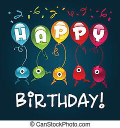 születésnap, szörnyek, boldog