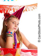születésnap, szőke, buli lány, unott, kalap, gesztus, kölyök