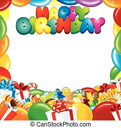 születésnap, tervezés, kártya, boldog