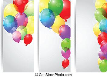 születésnap, transzparens, ünneplés