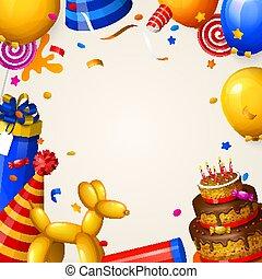 születésnapi parti, háttér, noha, balloons.
