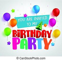 születésnapi parti, meghívás, háttér, vektor, tervezés, noha, köszöntések