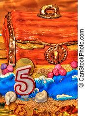 születésnapi torta, misét celebráló, öt, év