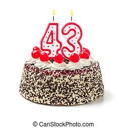 születésnapi torta, noha, égető, gyertya, szám, 43