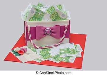 születésnapi torta, szeret, nő, táska, noha, száz, euro, pénz
