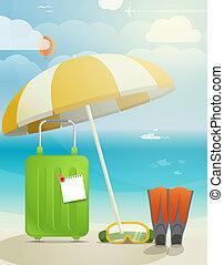 szünidő, ábra, nyár, tengerpart
