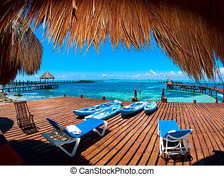 szünidő, alatt, tropikus, paradise., isla mujeres, mexikó