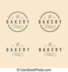 szüret, ábra, pékség, vektor, tervezés, jel, ikon