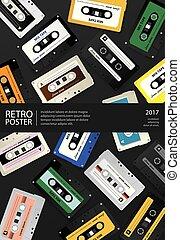 szüret, ábra, vektor, tervezés, retro, sablon, poszter, cassette mérőszalag