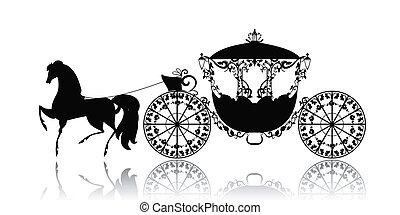 szüret, árnykép, közül, egy, ló, kocsi