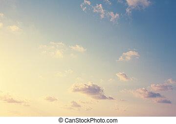 szüret, ég, és, puffy felhő, háttér