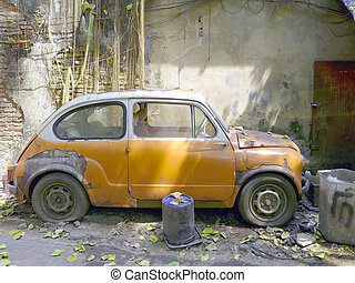 szüret, öreg, elhagyott autó