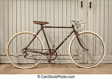 szüret, öreg, fut bicikli, gyár