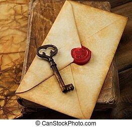 szüret, öreg, könyv, boríték, dolgozat, kulcs, tiszta