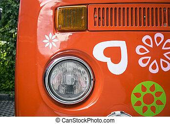 szüret, öreg, piros, furgon
