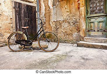 szüret, öreg, utca, bicikli, retro