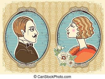 szüret, úriember, és, woman arc, portraits.vector, ábra
