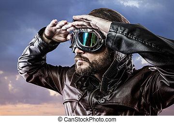 szüret, büszke, látszó, horizont, szemüveg, kifejezés,...